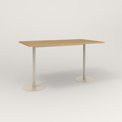 RAD Cafe Table, Rectangular Weighted Base T Leg in white oak europly and off-white powder coat.