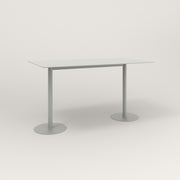 RAD Cafe Table, Rectangular Weighted Base T Leg in aluminum and grey powder coat.
