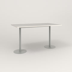 RAD Cafe Table, Rectangular Weighted Base T Leg in acrylic and grey powder coat.