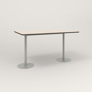 RAD Cafe Table, Rectangular Weighted Base T Leg in hpl and grey powder coat.