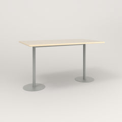 RAD Cafe Table, Rectangular Weighted Base T Leg in solid ash and grey powder coat.