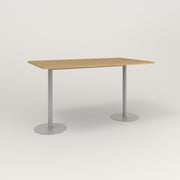 RAD Cafe Table, Rectangular Weighted Base T Leg in white oak europly and grey powder coat.