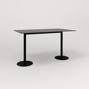 RAD Cafe Table, Rectangular Weighted Base T Leg in aluminum and black powder coat.