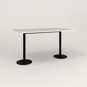RAD Cafe Table, Rectangular Weighted Base T Leg in acrylic and black powder coat.