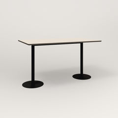 RAD Cafe Table, Rectangular Weighted Base T Leg in hpl and black powder coat.