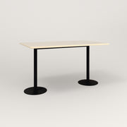 RAD Cafe Table, Rectangular Weighted Base T Leg in solid ash and black powder coat.