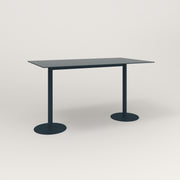 RAD Cafe Table, Rectangular Weighted Base T Leg in aluminum and navy powder coat.