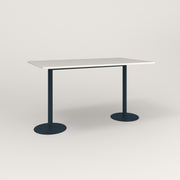 RAD Cafe Table, Rectangular Weighted Base T Leg in acrylic and navy powder coat.