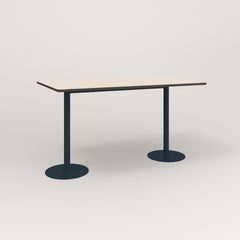 RAD Cafe Table, Rectangular Weighted Base T Leg in hpl and navy powder coat.
