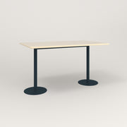 RAD Cafe Table, Rectangular Weighted Base T Leg in solid ash and navy powder coat.