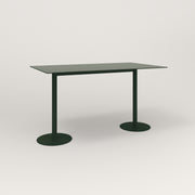 RAD Cafe Table, Rectangular Weighted Base T Leg in aluminum and fir green powder coat.
