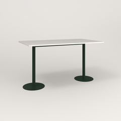 RAD Cafe Table, Rectangular Weighted Base T Leg in acrylic and fir green powder coat.
