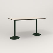 RAD Cafe Table, Rectangular Weighted Base T Leg in hpl and fir green powder coat.
