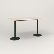 RAD Cafe Table, Rectangular Weighted Base T Leg in solid ash and fir green powder coat.