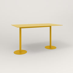 RAD Cafe Table, Rectangular Weighted Base T Leg in aluminum and yellow powder coat.