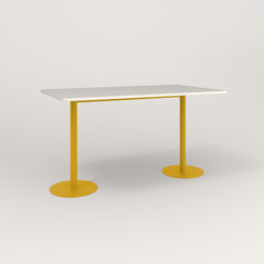 RAD Cafe Table, Rectangular Weighted Base T Leg in acrylic and yellow powder coat.