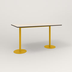 RAD Cafe Table, Rectangular Weighted Base T Leg in hpl and yellow powder coat.