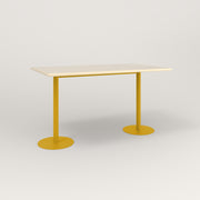 RAD Cafe Table, Rectangular Weighted Base T Leg in solid ash and yellow powder coat.