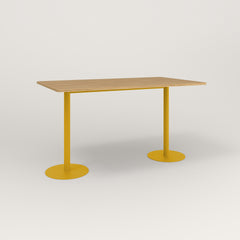 RAD Cafe Table, Rectangular Weighted Base T Leg in white oak europly and yellow powder coat.