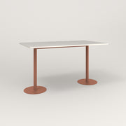 RAD Cafe Table, Rectangular Weighted Base T Leg in acrylic and coral powder coat.
