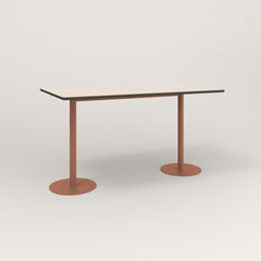 RAD Cafe Table, Rectangular Weighted Base T Leg in hpl and coral powder coat.