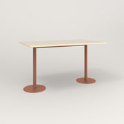 RAD Cafe Table, Rectangular Weighted Base T Leg in solid ash and coral powder coat.