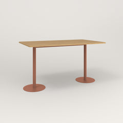 RAD Cafe Table, Rectangular Weighted Base T Leg in white oak europly and coral powder coat.
