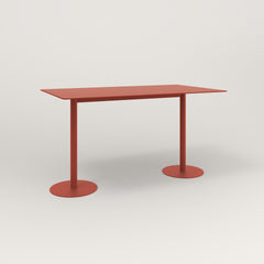 RAD Cafe Table, Rectangular Weighted Base T Leg in aluminum and red powder coat.