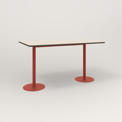 RAD Cafe Table, Rectangular Weighted Base T Leg in hpl and red powder coat.