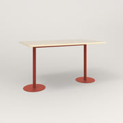 RAD Cafe Table, Rectangular Weighted Base T Leg in solid ash and red powder coat.