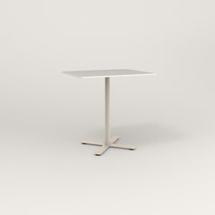 RAD Cafe Table, Rectangular X Base in acrylic and off-white powder coat.