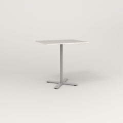 RAD Cafe Table, Rectangular X Base in acrylic and grey powder coat.