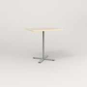 RAD Cafe Table, Rectangular X Base in solid ash and grey powder coat.