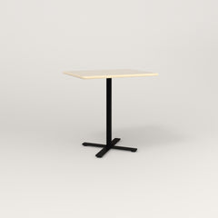 RAD Cafe Table, Rectangular X Base in solid ash and black powder coat.