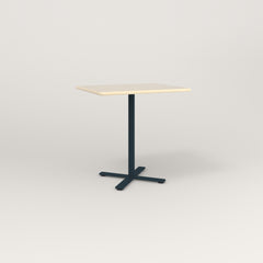 RAD Cafe Table, Rectangular X Base in solid ash and navy powder coat.