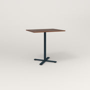 RAD Cafe Table, Rectangular X Base in slatted wood and navy powder coat.