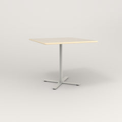 RAD Cafe Table, Rectangular X Base in solid ash and white powder coat.