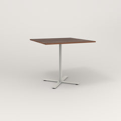 RAD Cafe Table, Rectangular X Base in slatted wood and white powder coat.