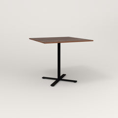 RAD Cafe Table, Rectangular X Base in slatted wood and black powder coat.