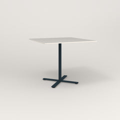 RAD Cafe Table, Rectangular X Base in acrylic and navy powder coat.