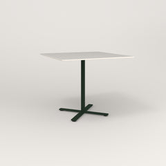 RAD Cafe Table, Rectangular X Base in acrylic and fir green powder coat.