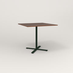 RAD Cafe Table, Rectangular X Base in slatted wood and fir green powder coat.