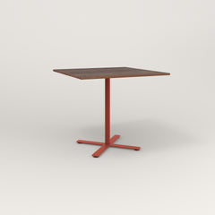 RAD Cafe Table, Rectangular X Base in slatted wood and red powder coat.