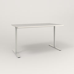 RAD Cafe Table, Rectangular X Base T Leg in acrylic and white powder coat.