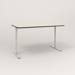 RAD Cafe Table, Rectangular X Base T Leg in hpl and white powder coat.