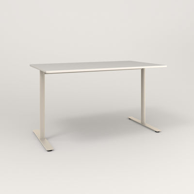 RAD Cafe Table, Rectangular X Base T Leg in acrylic and off-white powder coat.