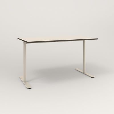 RAD Cafe Table, Rectangular X Base T Leg in hpl and off-white powder coat.