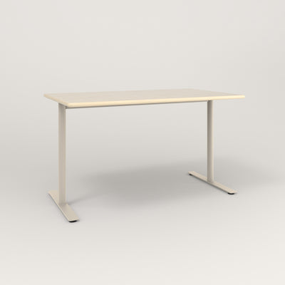 RAD Cafe Table, Rectangular X Base T Leg in solid ash and off-white powder coat.