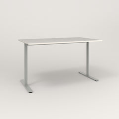 RAD Cafe Table, Rectangular X Base T Leg in acrylic and grey powder coat.
