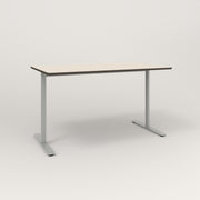 RAD Cafe Table, Rectangular X Base T Leg in hpl and grey powder coat.